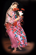 Judith in costume performing with Voices of Sepharad